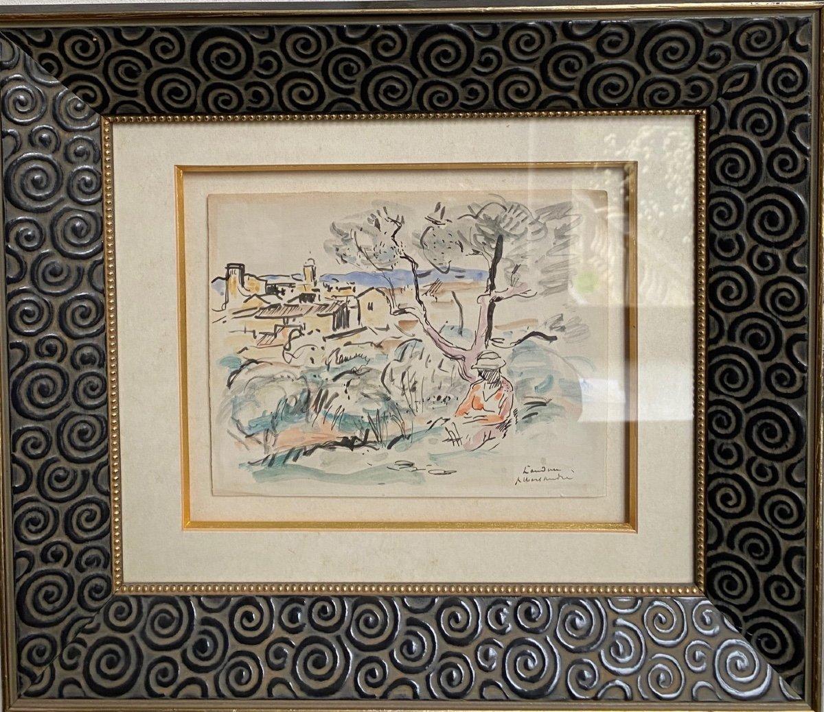 Albert  AndrÉ  1869/1954     Vue  Du   Village   De    Laudun