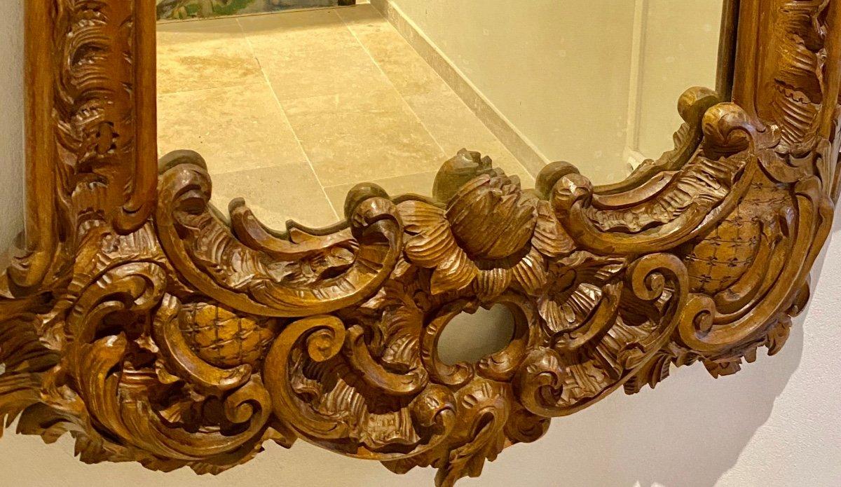 Mirroir   19 Eme  Dans Un Cadre  En  Noyer Massif   A Décor De  Style  Renaissance-photo-1
