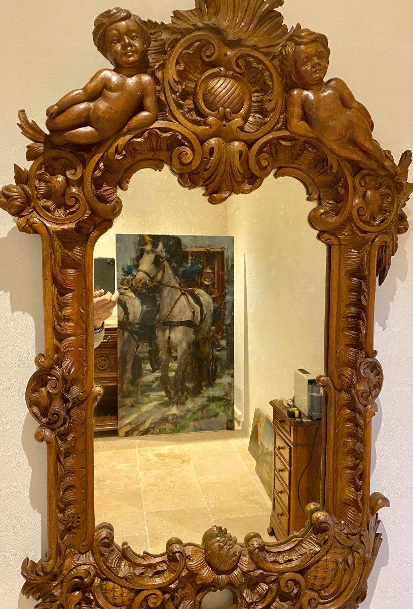 Mirroir   19 Eme  Dans Un Cadre  En  Noyer Massif   A Décor De  Style  Renaissance-photo-4