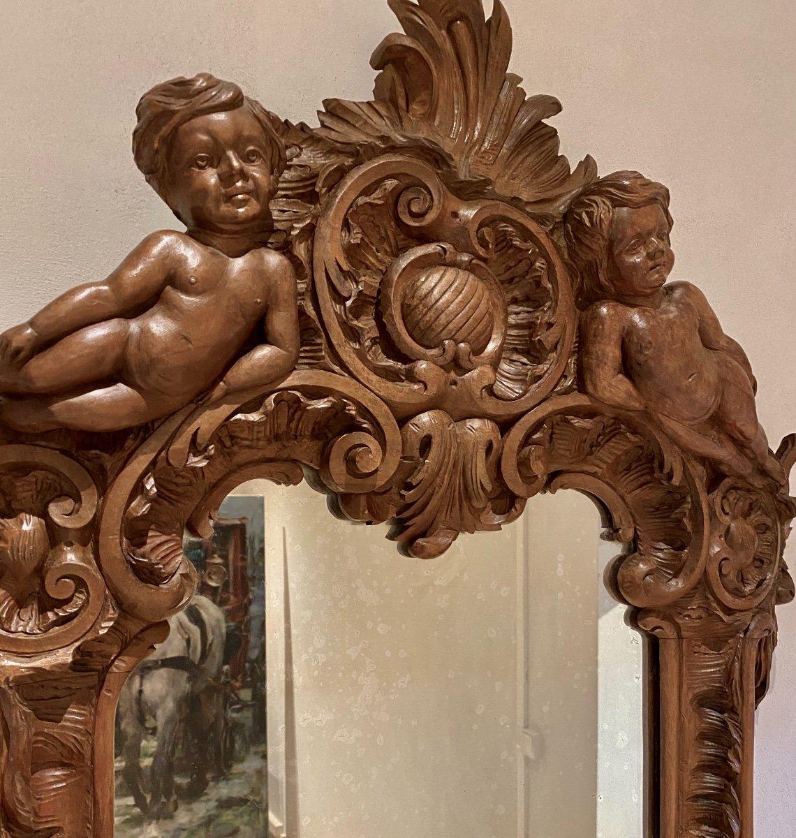 Mirroir   19 Eme  Dans Un Cadre  En  Noyer Massif   A Décor De  Style  Renaissance-photo-2