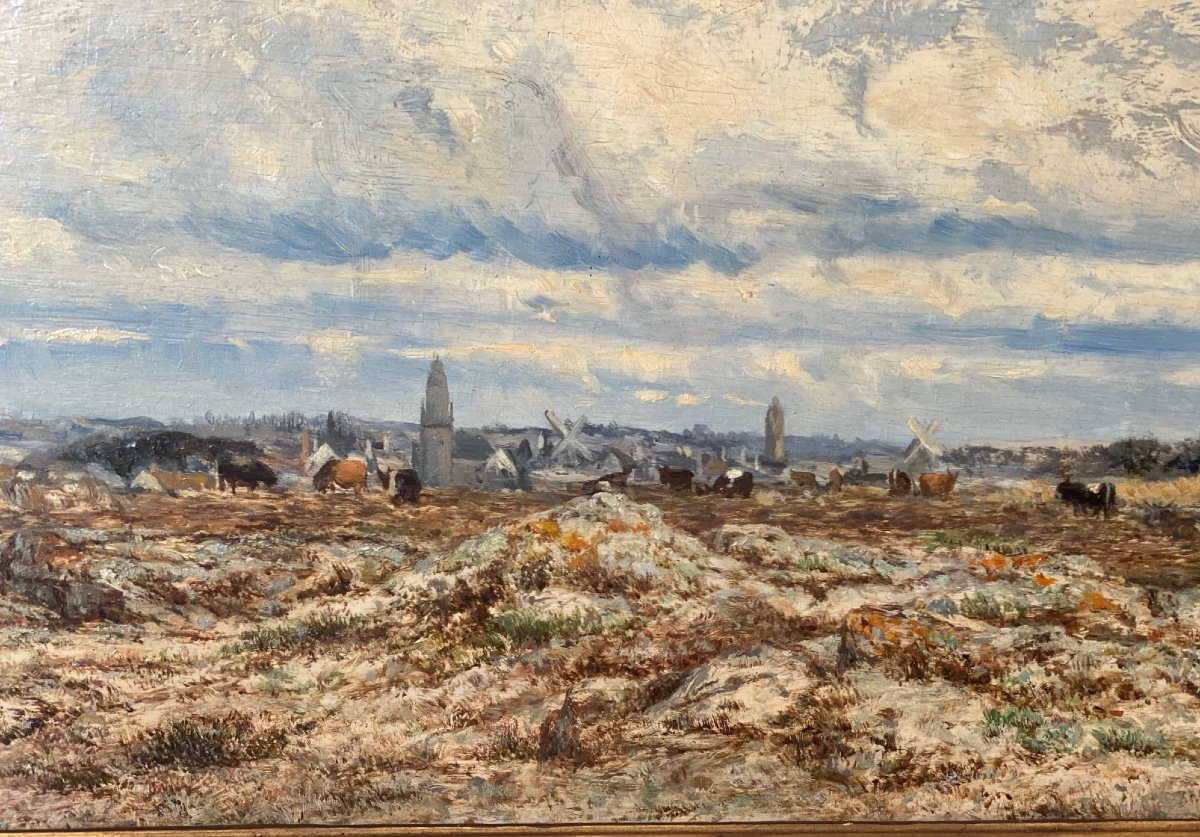 Hsp   Charles Le  Roux    1814-1895    Voiliers Sur l'Estuaire De La Loire  58.5 X 30.5-photo-2