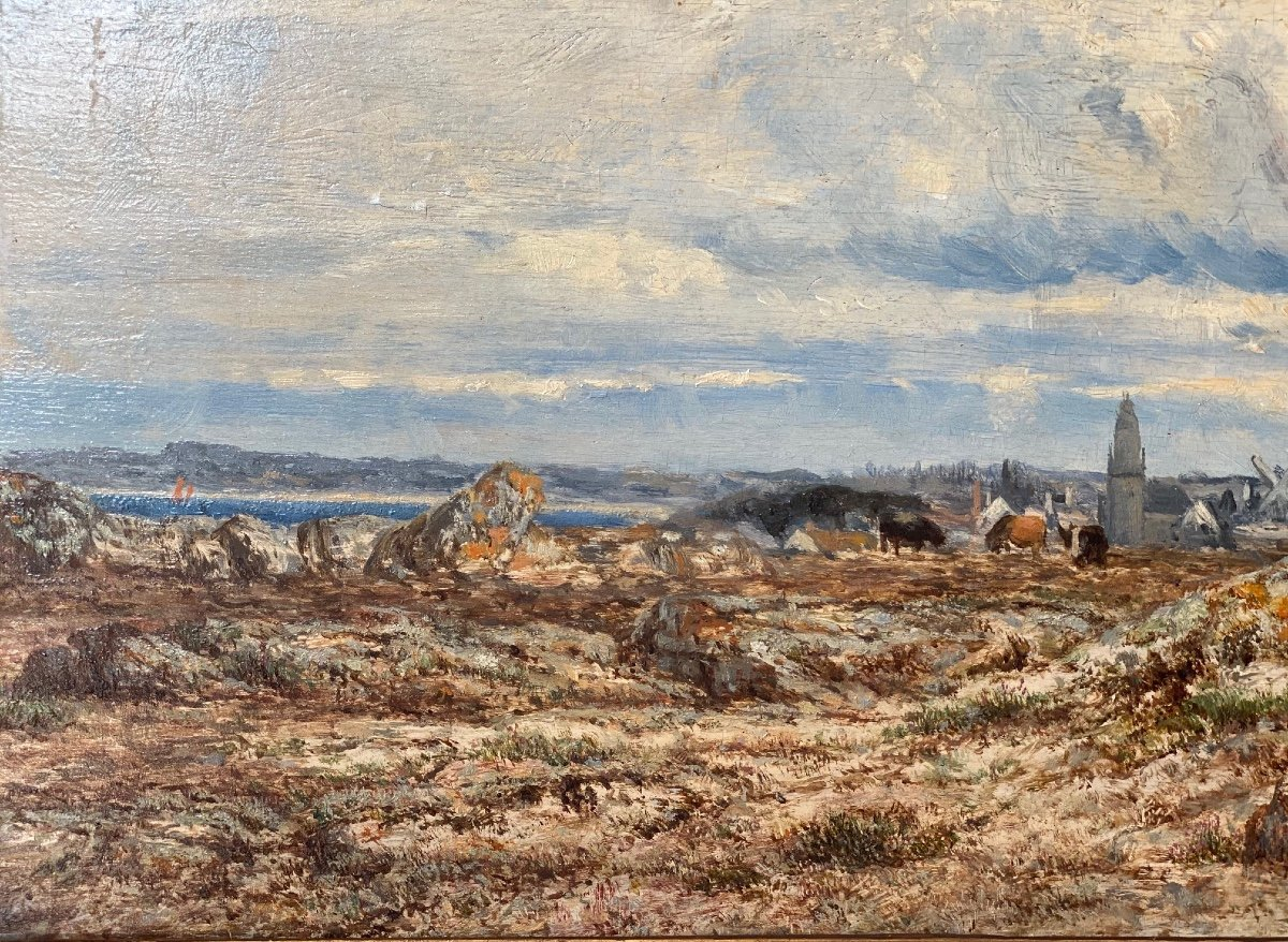 Hsp   Charles Le  Roux    1814-1895    Voiliers Sur l'Estuaire De La Loire  58.5 X 30.5-photo-3