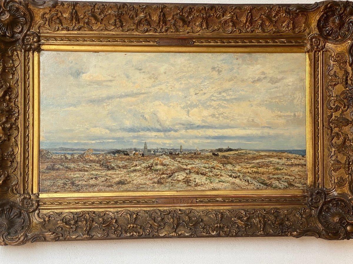 Hsp   Charles Le  Roux    1814-1895    Voiliers Sur l'Estuaire De La Loire  58.5 X 30.5