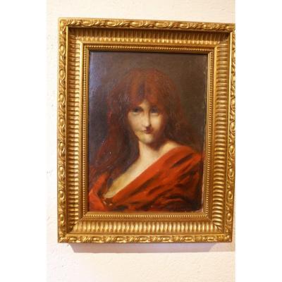 Jean-jacques  Henner  1829-1905   Portrait   Femme Rousse Signée  Sur  panneau cartonné    33 X  25 Cm.