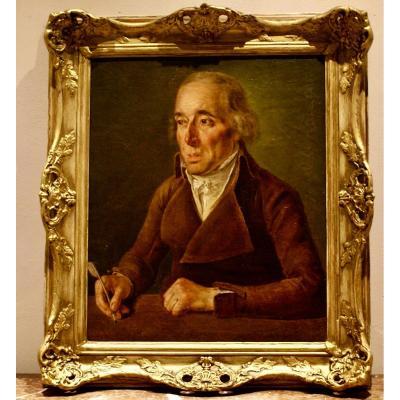 TABLEAU  Portrait    d'Un    Ecrivain       Huile Sur Toile    Fin  Du  18eme Siècle