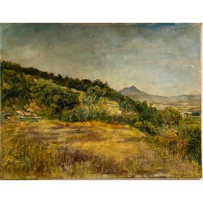 Paysage  Provençale  signé  E. Martin  Peintre  en 1906