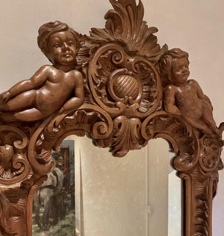 Mirroir   19 Eme  Dans Un Cadre  En  Noyer Massif   A Décor De  Style  Renaissance-photo-3