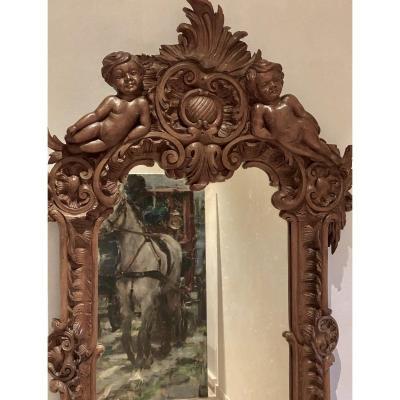 Mirroir   19 Eme  Dans Un Cadre  En  Noyer Massif   A Décor De  Style  Renaissance