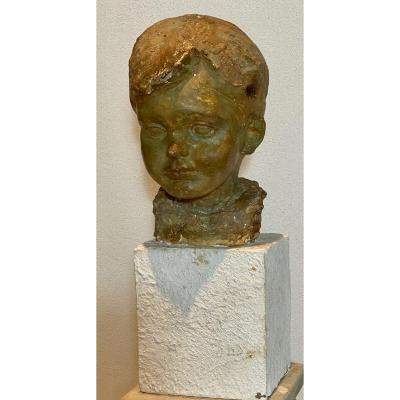 Sculpture   Sur Base   De La TÊte d'Un Enfant   En  Platre   Patiné
