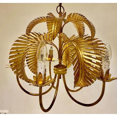 Chandelier a  palmes  dorées  de     Cinq Branches    Maison Jansen