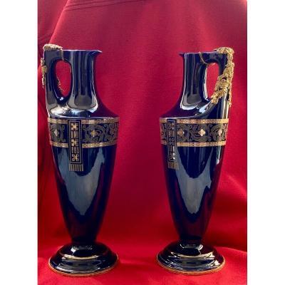 Pair De Vases    Porcelaine Et Bronze  Decoration     Art Nouveau   Sarreguemines
