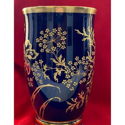 Vase   En Porcelaine  De Limoges   P. Pastaud   A DÉcor Floral DorÉ A l'Or Fin