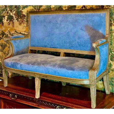 CanapÉ    d'Époque   Consulat  Patine d'Origine Vert FoncÉ  Recouvert En Velour Bleu Royal