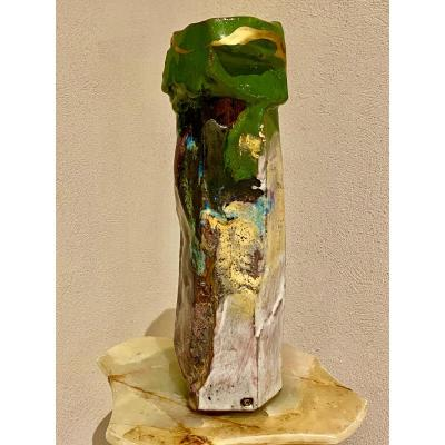 Sculpture   En Couleurs  Sur  Gres  ÉmaillÉs  De Forme   AsymÉtrique