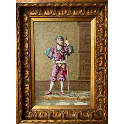 Peinture Style  Renaissance  Sur  Porcelaine  d'Un Homme d'Armes   SignÉe  Bigot Bas à Droite 30 X 39