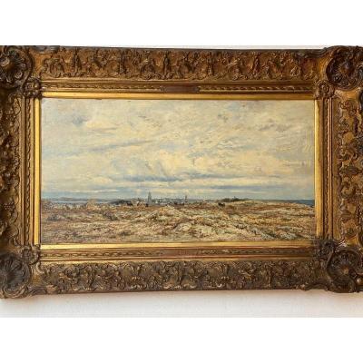 Hsp Charles Le Roux 1814-1895 Sailboats On The Loire Estuary 58.5 X 30.5