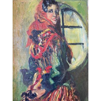 Huile Sur Panneau   Jeune Femme  Espiegle    style impressionist   Fin 19 Eme