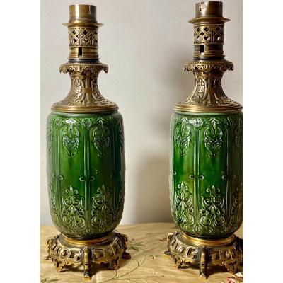 2 Lampes  à Pétrole  De  ThÉodore Deck    Montées   Bronzes  Nuancés  Style Chinoisant 50 Cm