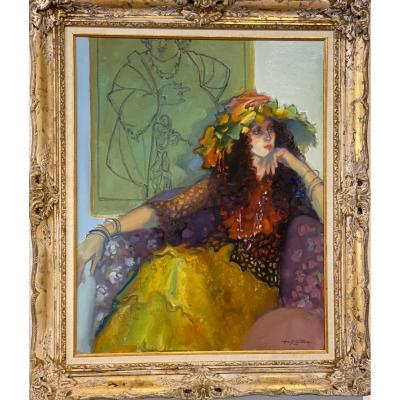 Portrait  Huile  Sur Toile  Signé  Lynn   Gertenback   Américain Artist