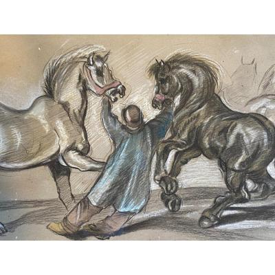 Dessin Colorié  d'un paysan rentrant ses chevaux de traits  le soir  par  Cecil  Howard américain 1905