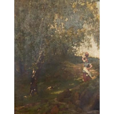 Hst   Tableau Anglais     SignÉ Et DatÉ  1875   Scene De Paysage AnimÉ