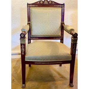 SALON    Acajou    Massif  Niii     Style Empire   Bronzes  2 fauteuils  2 chaises  canapé