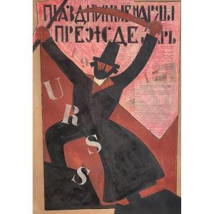 Painting On Collage Original Poster 1917 Rosta From Soviet Propaganda
