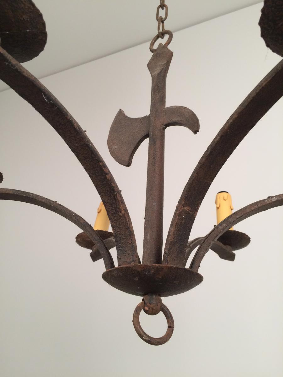 Chandelier Wrought Iron Decor To Ax Around 1950.-photo-3