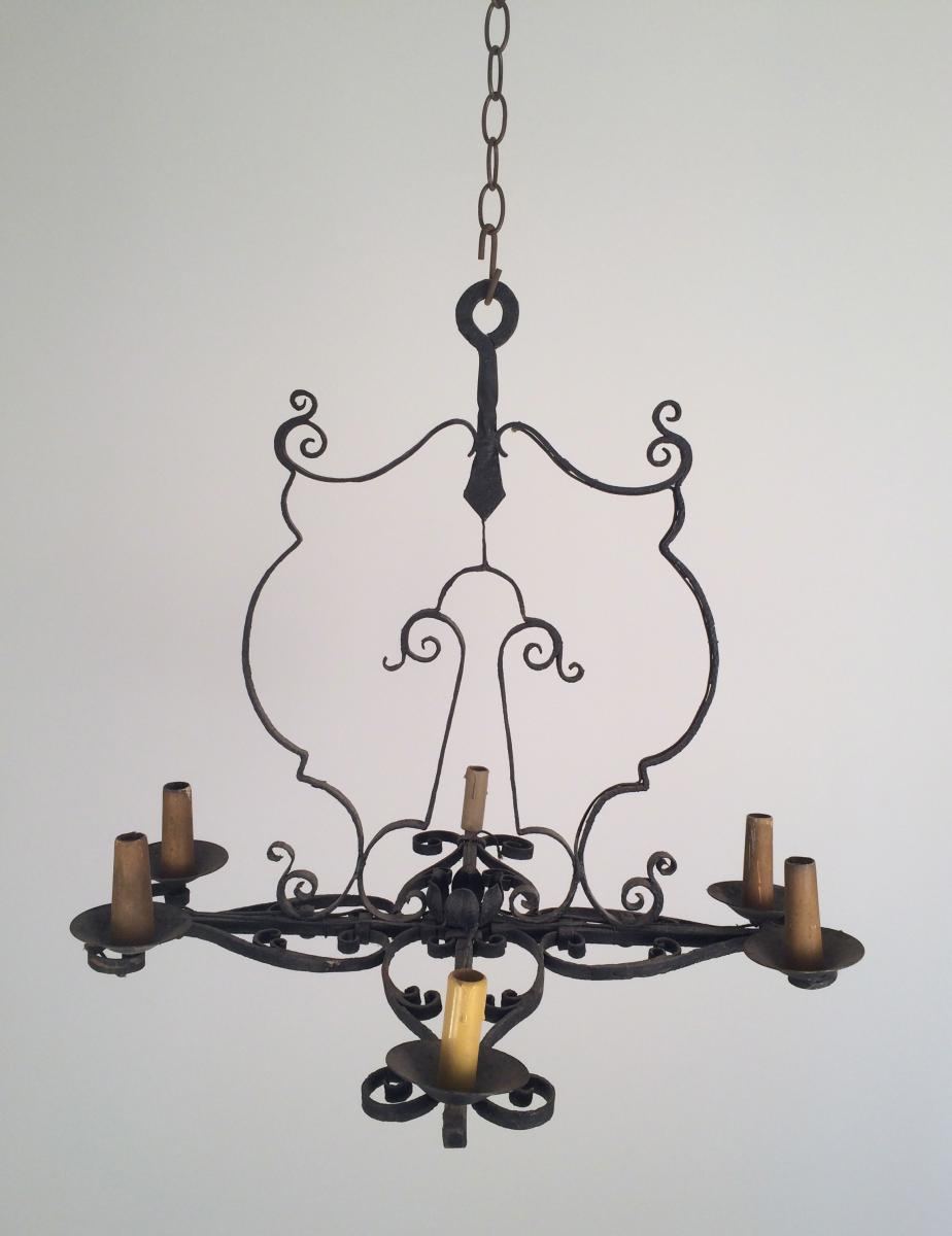 Wrought Iron Chandelier 4lumières In The 1940s.