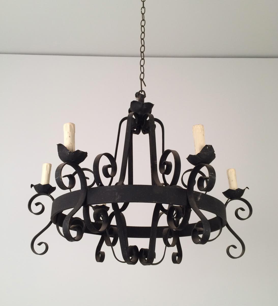 lustre en fer forg 8 lumi res vers 1960 lustres. Black Bedroom Furniture Sets. Home Design Ideas