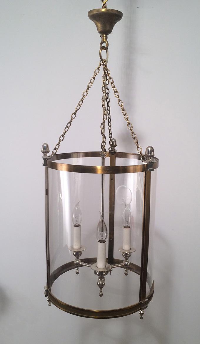 lanterne n oclassique en laiton et argent faux verre rond en plastic dur vers 1970 lanternes. Black Bedroom Furniture Sets. Home Design Ideas