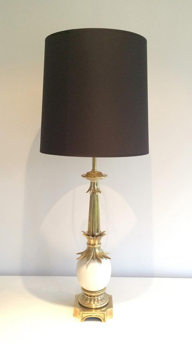 Lampe En Bronze Et Céramique. Vers 1960