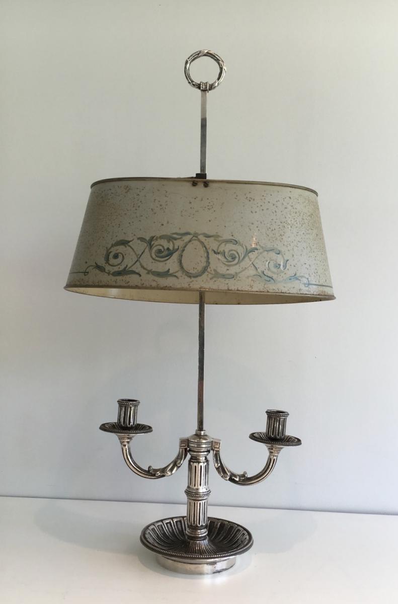 Lampe Bouillotte Louis XVI Argentée  En Tôle Peinte.