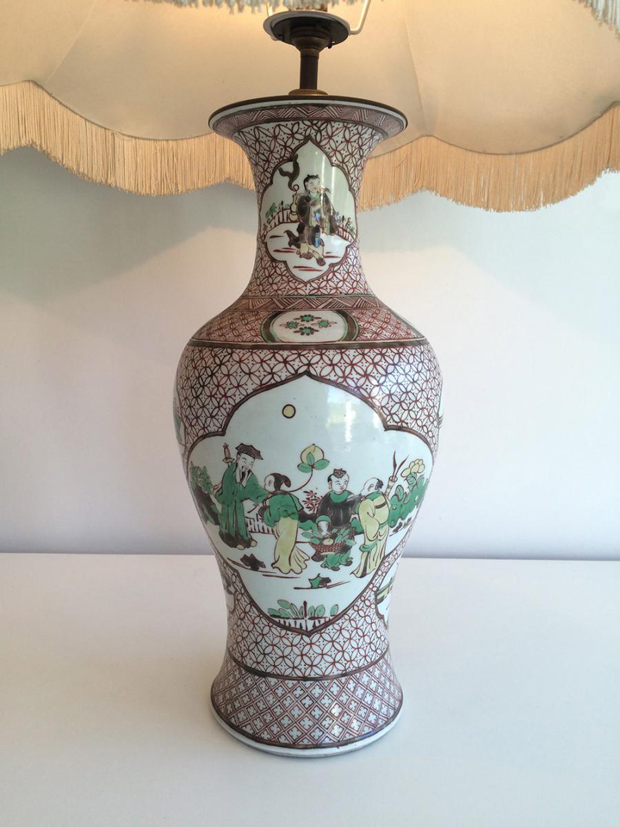 Paire De Lampes En Porcelaine à Décors Chinoisants. Vers 1920 -photo-4