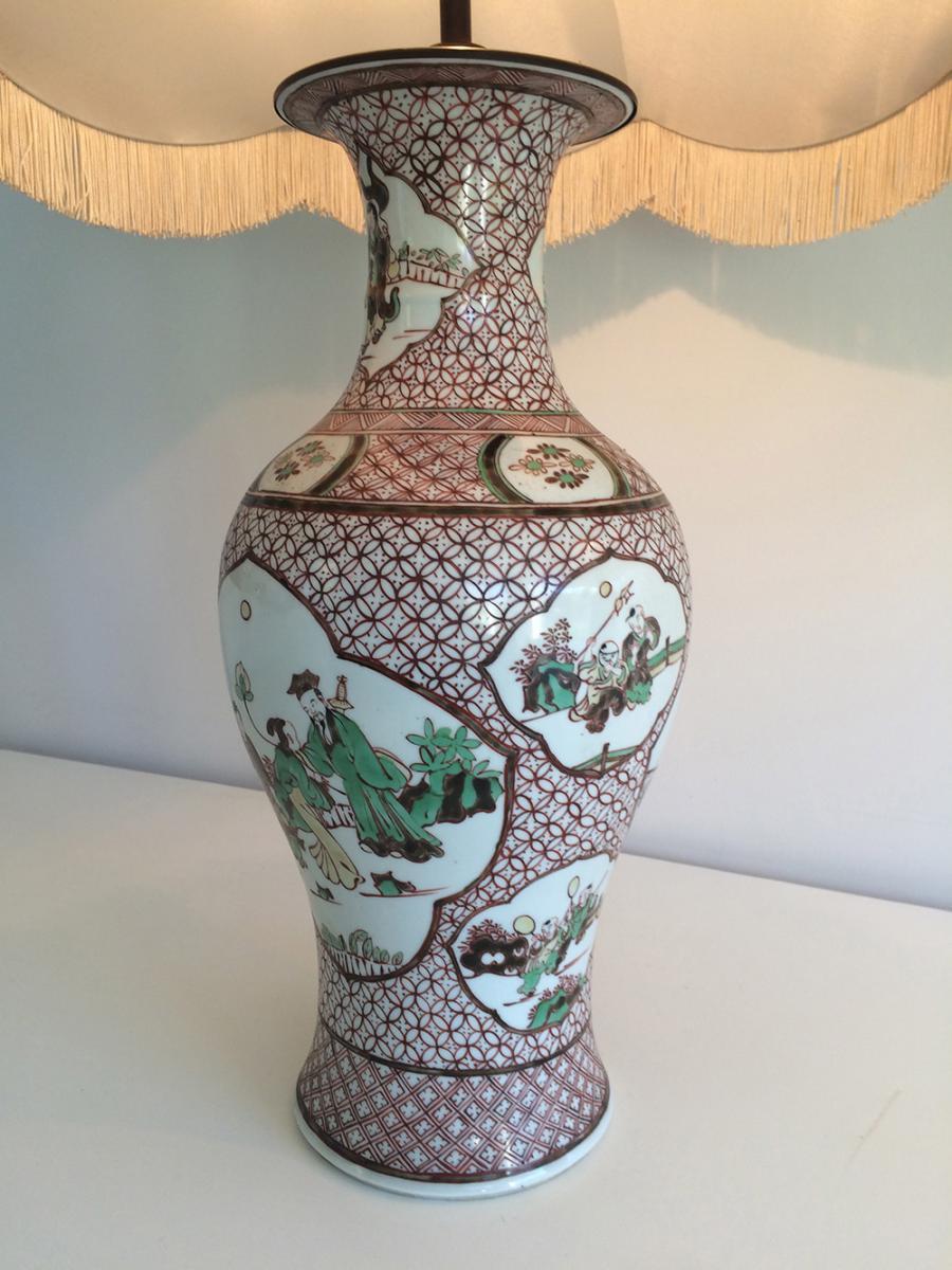 Paire De Lampes En Porcelaine à Décors Chinoisants. Vers 1920 -photo-1