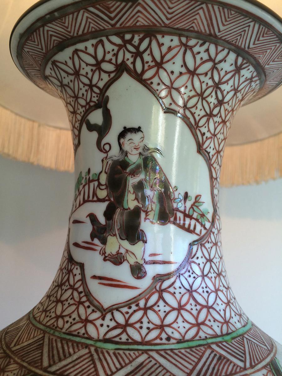 Paire De Lampes En Porcelaine à Décors Chinoisants. Vers 1920 -photo-6