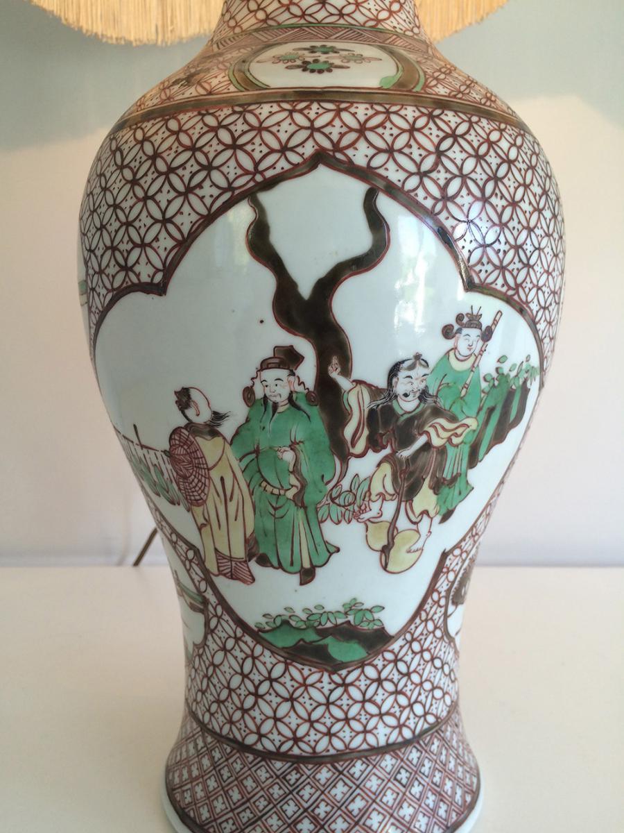 Paire De Lampes En Porcelaine à Décors Chinoisants. Vers 1920 -photo-8