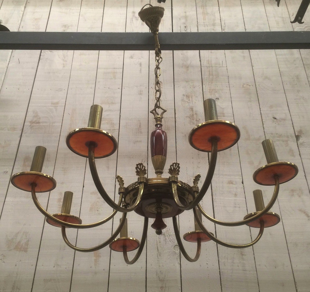 Neoclassical Chandelier In Brass And Red Plexiglas. About 1970