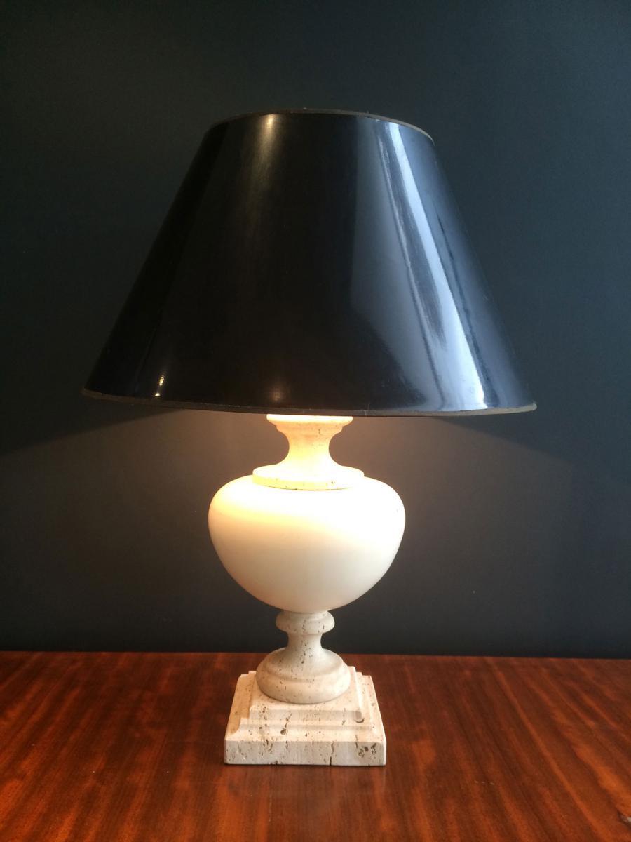 lampe en travertin et c ramique vers 1960 lampes. Black Bedroom Furniture Sets. Home Design Ideas