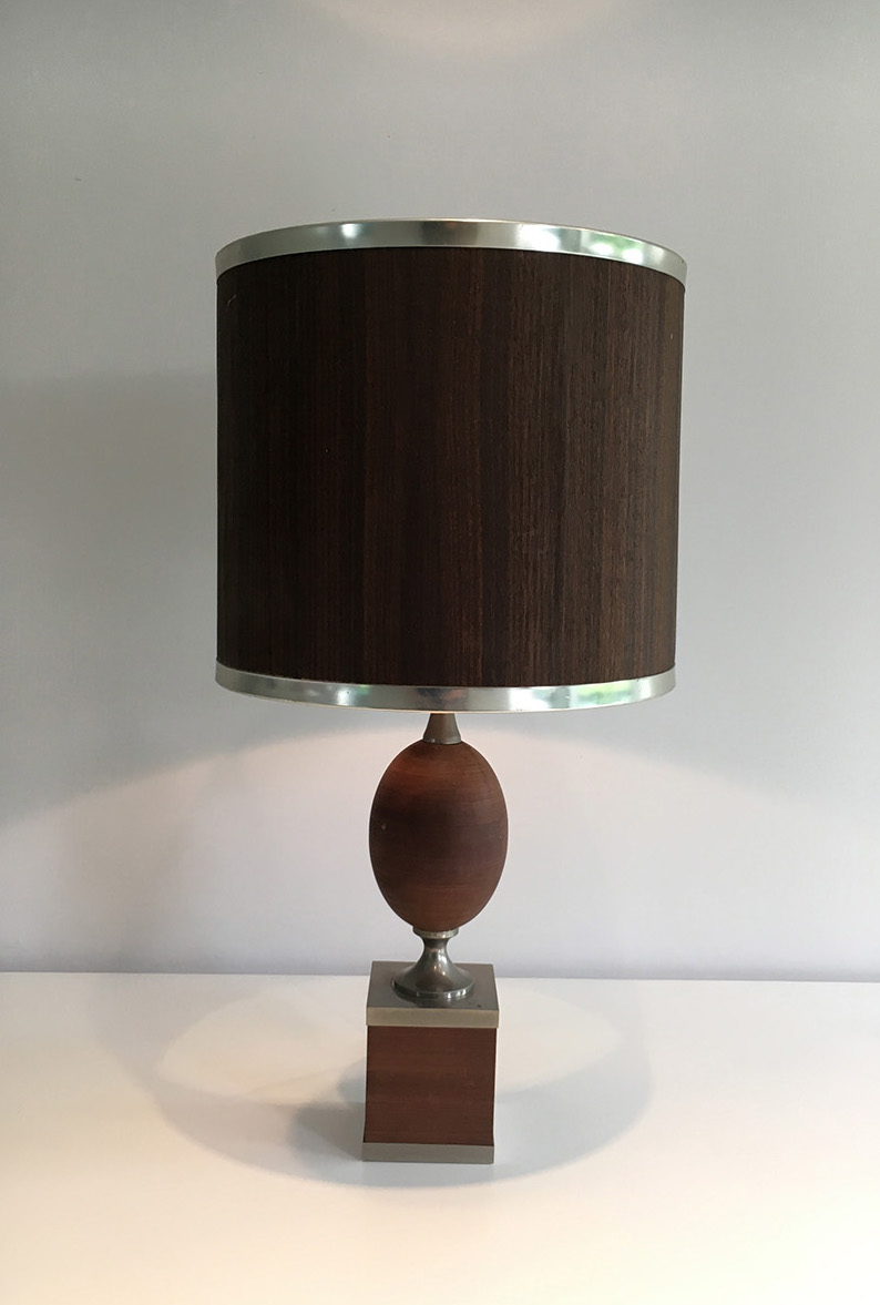 Lampe oeuf en bois et acier brossé. Vers 1970