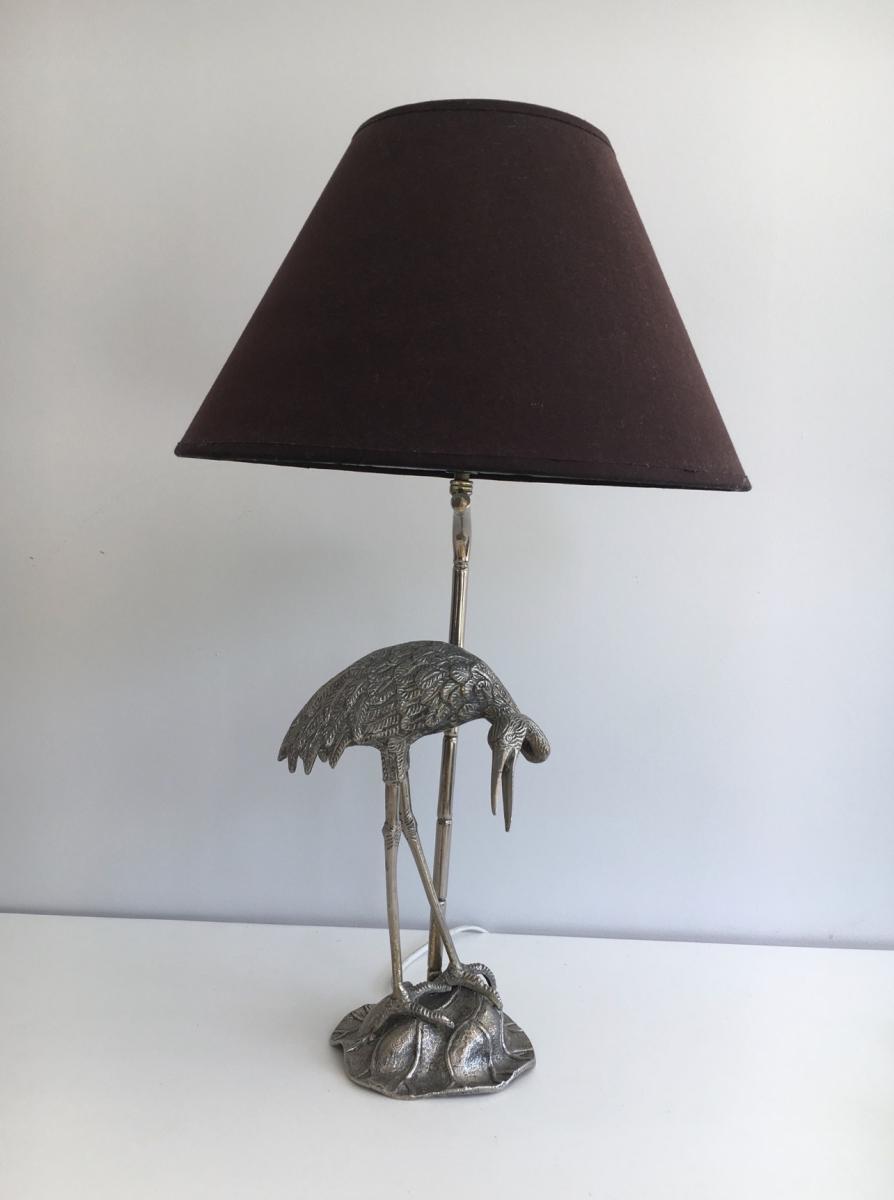 Maison Bagués. Lampe Au Héron En Métal Argenté. Vers 1960