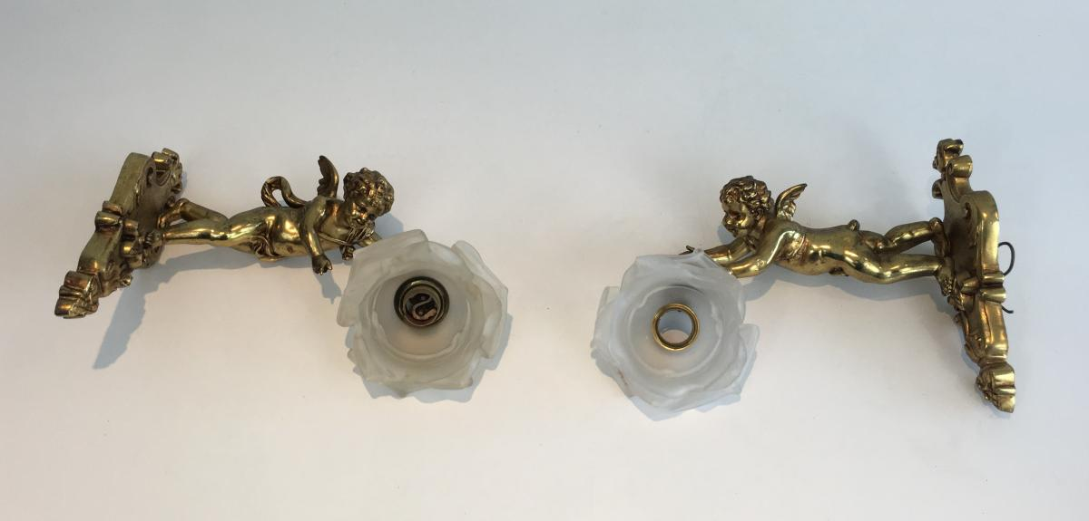 Pair Of Louis The 16th Style Bronze Sconces With Glass Rose. French. Circa 1900