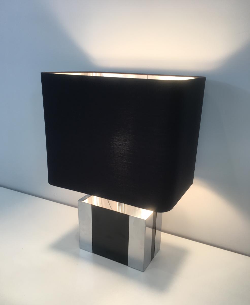 Lampe En Chrome Et Laque Noire
