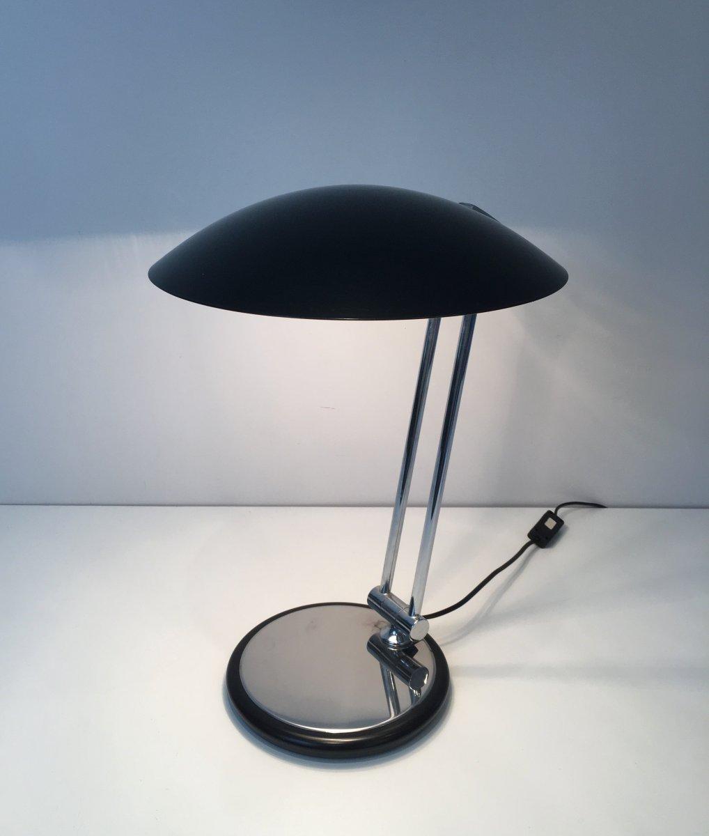 Lampe De Bureau Design Pivotante En Chrome Et Métal Laqué Noir. Vers 1970