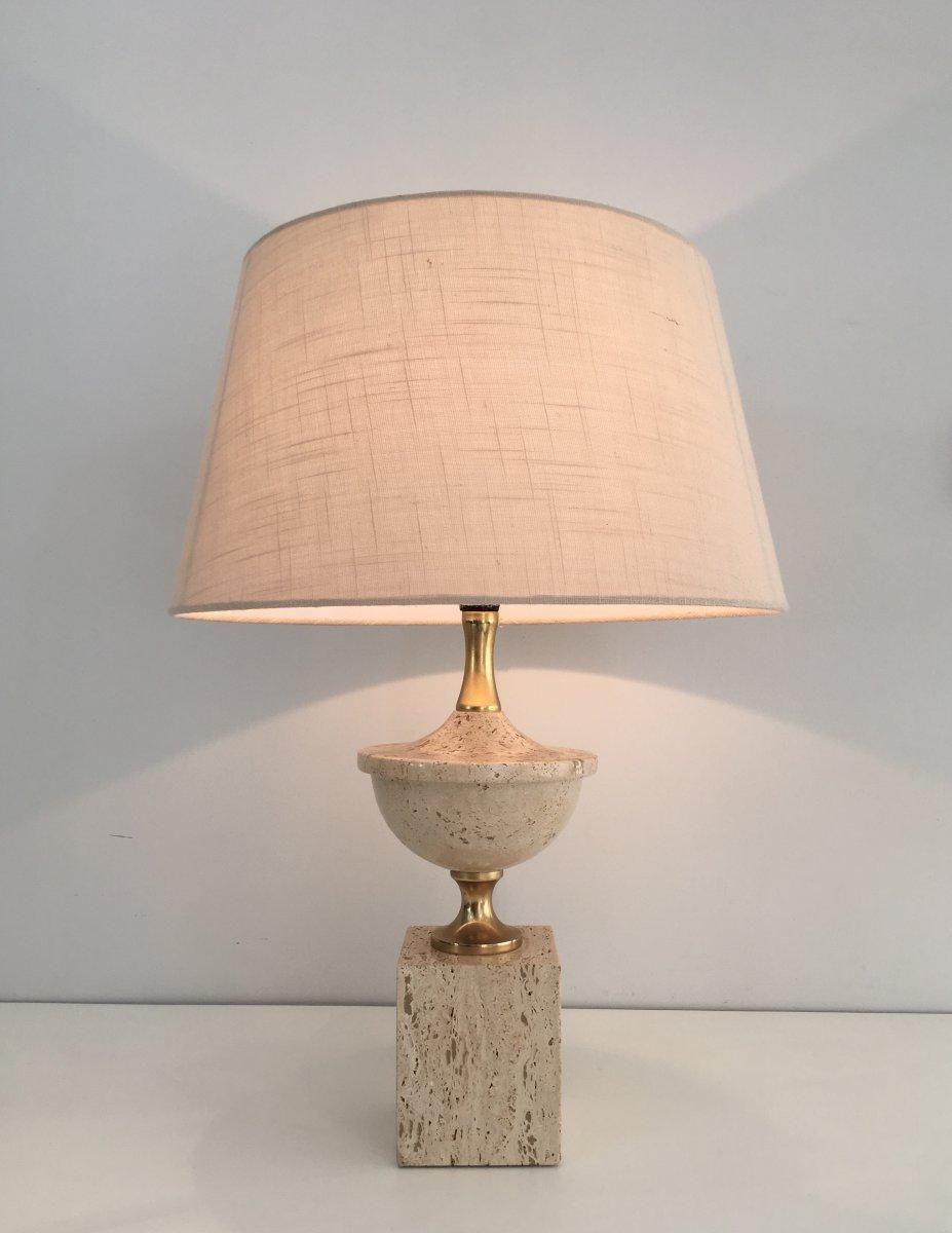 Philippe Barbier. Lampe De Table Balustre En Travertin Et Métal Doré. Vers 1970
