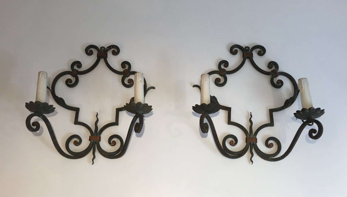 Pair Of Large Decorative Wrought Iron Wall Sconces French Circa 1950 Wall Lights