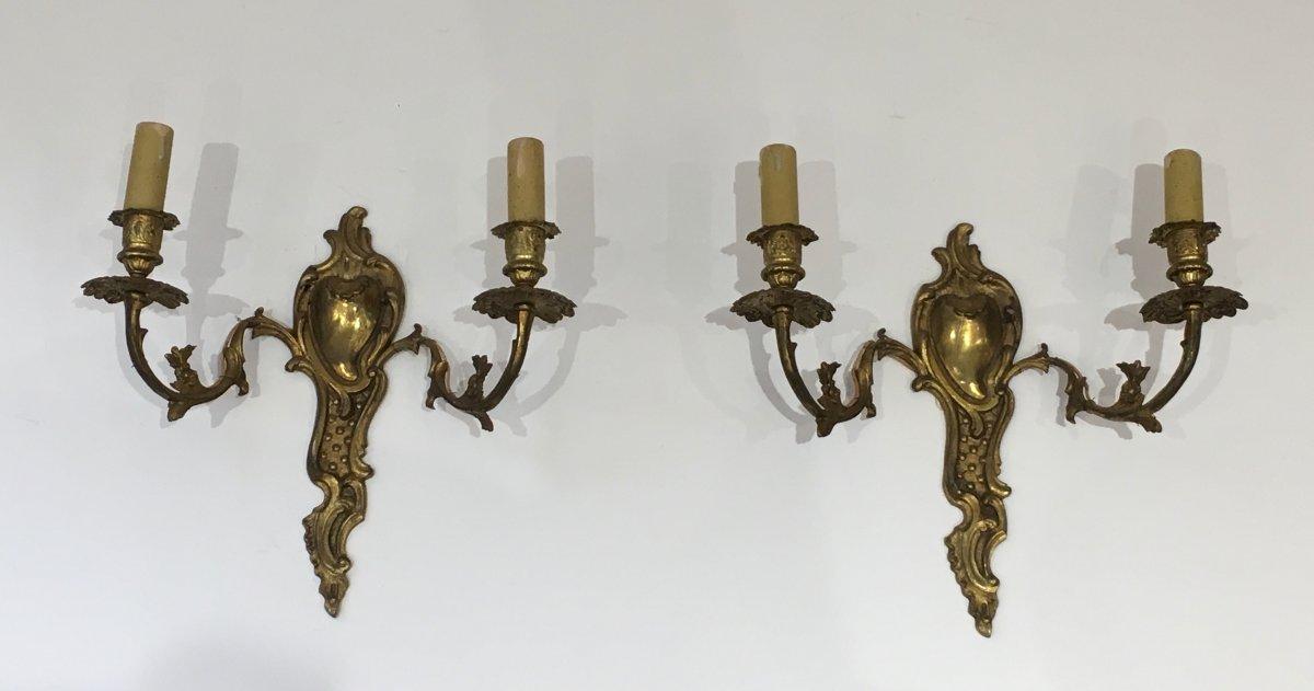 Paire d'Appliques De Style Louis XV En Bronze. Travail Français. Vers 1920