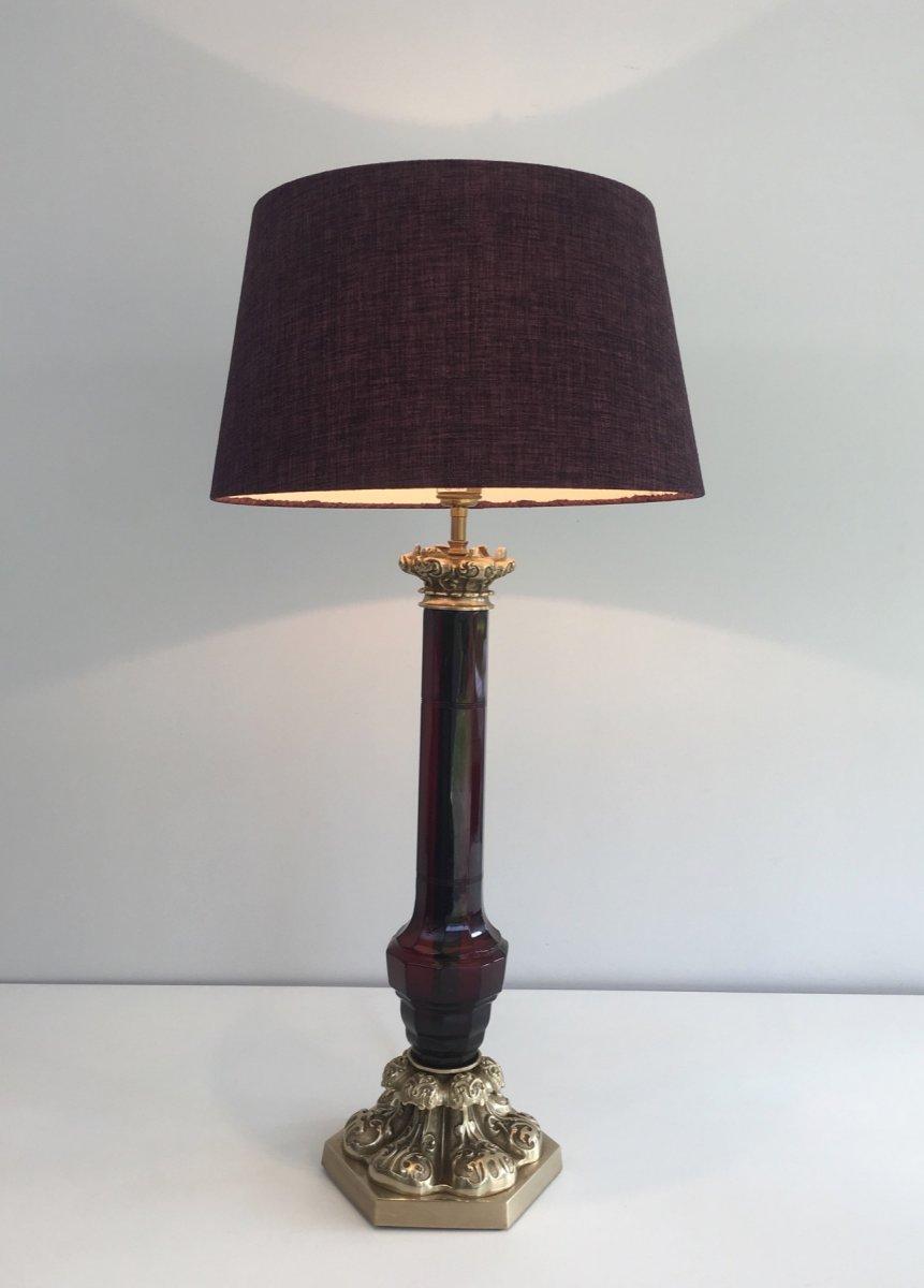 Attribué à Cristal & Bronze Paris. Importante Lampe En Cristal Rouge Et Bronze Ciselé