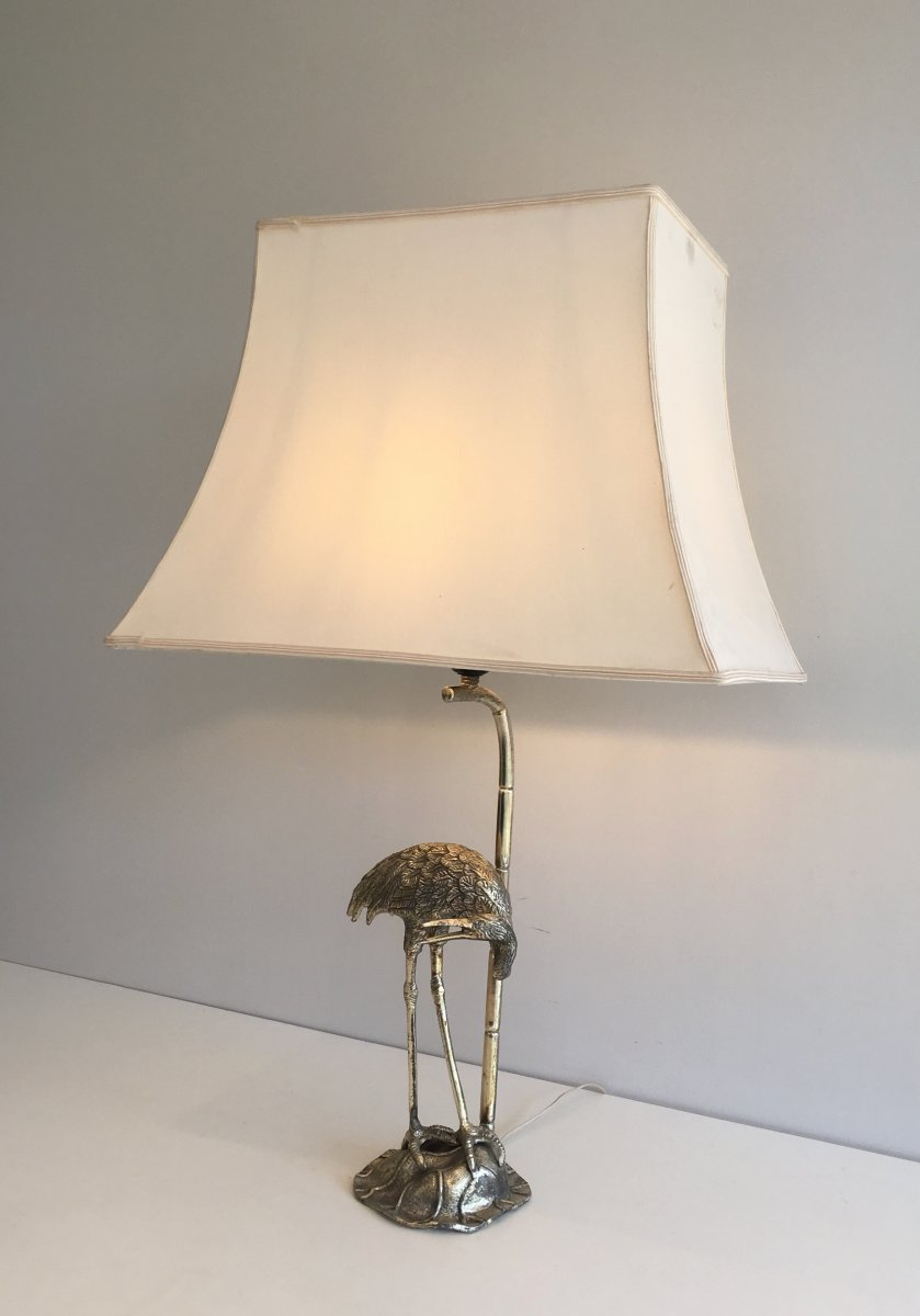 Maison Bagués. Silver Plated Heron Table Lamp. French. Circa 1940-photo-2