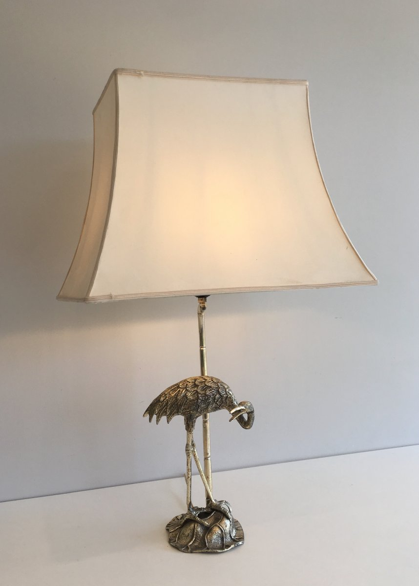 Maison Bagués. Silver Plated Heron Table Lamp. French. Circa 1940-photo-3